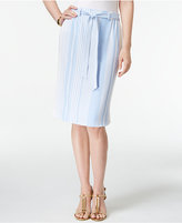 NY Collection Petite Striped A-Line Skirt