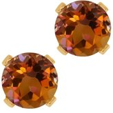 Gem Stone King 1.20 Ct Round Mystic Topaz 10K Yellow Gold 4-prong Stud Earrings 5mm