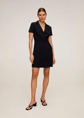 MANGO Crepe wrap dress black - 2 - Women