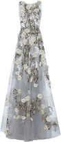 Marchesa Floral Sheer Tulle Gown