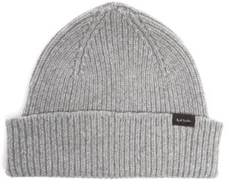 Paul Smith Ribbed Cashmere-blend Beanie Hat - Mens - Grey