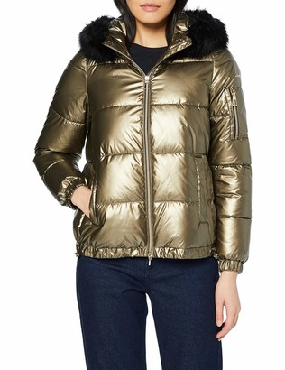 Geox Women's Backsie Metallic Jacket with Faux Fur Hood Outerwear