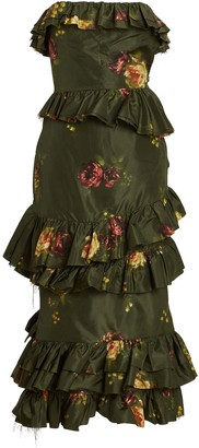 Brock Collection Strapless Floral Taffeta Midi Dress