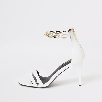 River Island White chain ankle wide fit heeled sandals