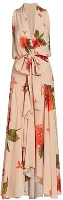 Silvia Tcherassi Ada Lux Floral Silk Maxi Dress