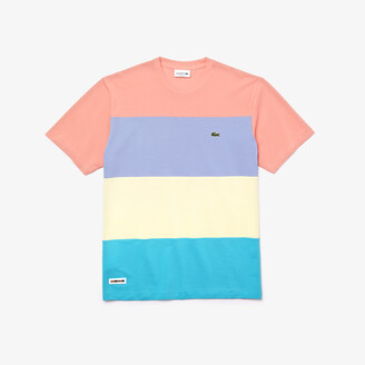 Lacoste Mens Relaxed Fit Colorblock Lightweight Cotton-Pique T-shirt