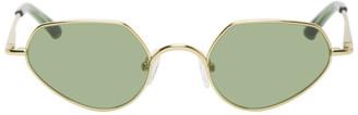 Dries Van Noten Gold and Green Metal Angular Sunglasses