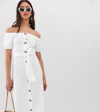 Bardot Asos Tall ASOS DESIGN Tall exclusive button through slub midi sundress-White