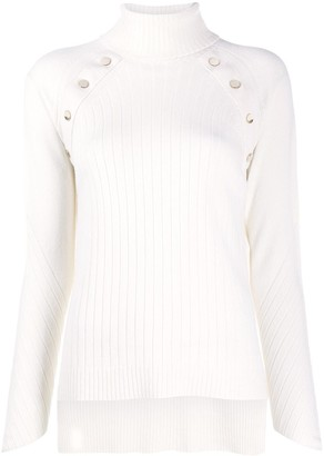 D-Exterior Button-Embellished Ribbed Jumper