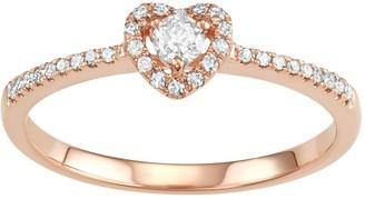 10k Rose Gold 1/4 Carat T.W. Diamond Heart Promise Ring