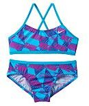 Nike Girls 7-14 Cross-Back Graphic Bikini Swimsuit Set