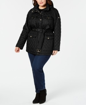 Michael Kors Michael Plus Size Belted Quilted Jacket