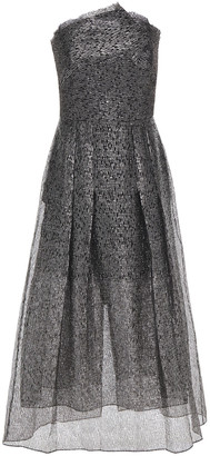 Roland Mouret Strapless Metallic Fil Coupe Organza Midi Dress