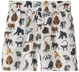 Burberry Silk Monkey-Print Shorts