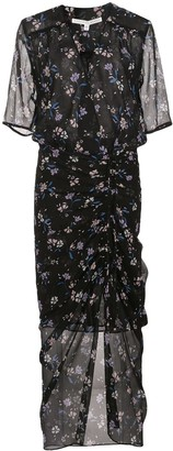 Veronica Beard silk ruched midi dress