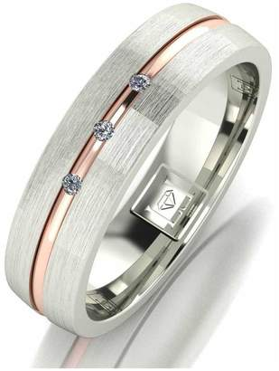 Love Diamond Argentium Silver Diamond Set 5mm Wedding Band with 9ct Gold Stripe