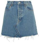 RE/DONE Originals Distressed Denim Mini Skirt - Blue