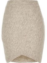 River Island Womens Stone ribbed knitted skirt