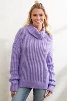 J.o.a. Purple Cable Knit Turtleneck Sweater Purple M