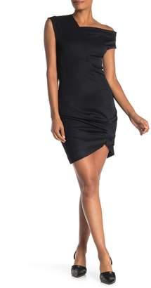 Helmut Lang Ruched High/Low Drape Dress