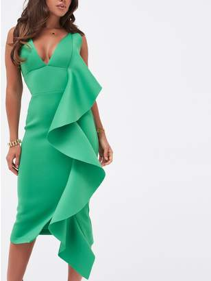 Lavish Alice Draped Frill Midi Scuba Dress - Green