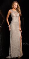 Scala Illusion Beaded Scallop Sequin Prom Dress