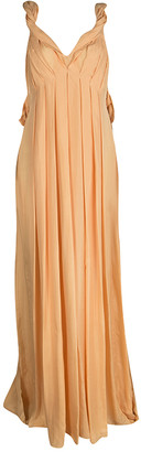 Matthew Williamson Orange Draped Back Detail Silk Maxi Dress M