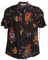 Preen Line Paige gathered-detail floral-print shirt