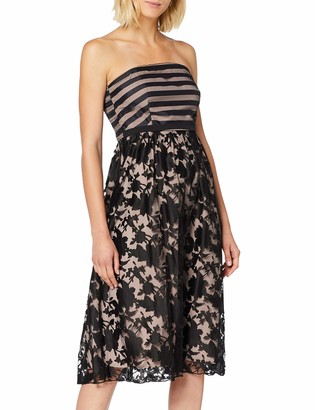 Little Mistress Women's Elly Floral and Stripe Organza Midi Skater Dress Party (Black 001) 8 (Size:8)