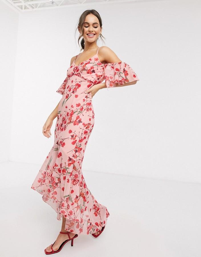 Little Mistress fishtail ruffle midaxi dress in poppy floral