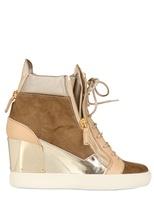 Giuseppe Zanotti 90mm Canvas & Calfskin Sneakers Wedges