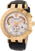"""Versace Men's 23C80D002 S009 """"V-Race"""" Rose Gold-Plated Watch with Black Leather Band"""