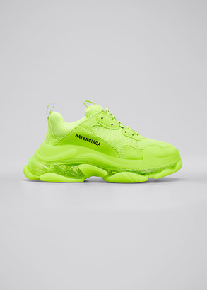 Balenciaga Men's Triple S Clear-Sole Neon Sneakers