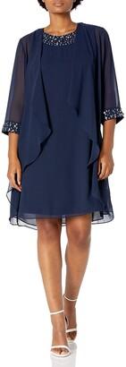 SL Fashions Women's Chiffon Tier Jacket Dress with Bead Neck