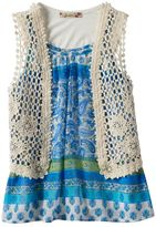 Speechless Girls 7-16 Chiffon Top & Floral Crochet Vest