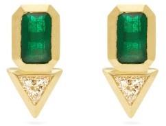 Azlee Diamond, Emerald & 18kt Gold Earrings - Gold