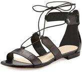 Alexandre Birman Brenda Eel Lace-Up Flat Sandal, Black