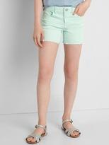 High stretch rip & repair midi shorts