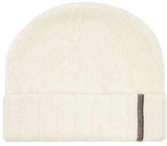 Brunello Cucinelli Beaded Cashmere-blend Beanie Hat - White