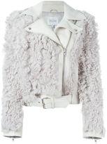 Dagmar faux fur panel biker jacket