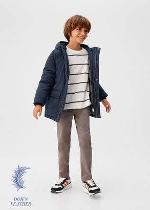 MANGO Feather down hooded coat dark navy - 5 - Kids