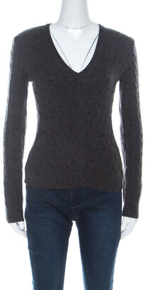 Ralph Lauren Grey Cashmere Cabled V-Neck Sweater M