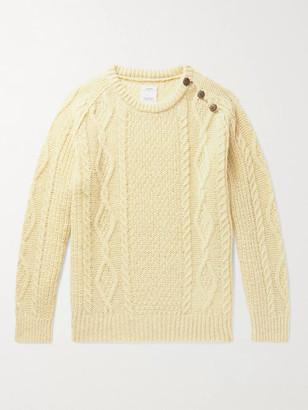 Visvim Bollard Button-Embellished Cable-Knit Wool Sweater