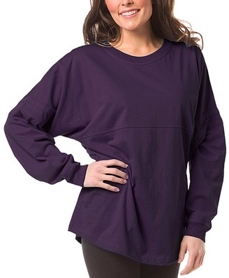 Boxercraft Women's Sleep Tops PRP - Purple Jersey Pom-Pom Oversize Lounge Top - Women & Plus