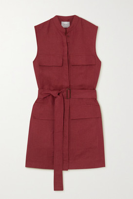 BONDI BORN Belted Linen Mini Dress - Claret