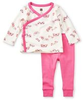 Tea Collection 2-Piece Flutterby Kimono Top and Pant Set in White/Pink