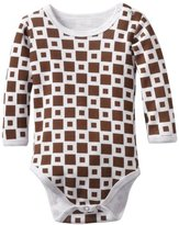 L'ovedbaby Unisex-Baby Infant Long Sleeve Bodysuit, Miles-Of-Tiles Brown, 6/9 Months