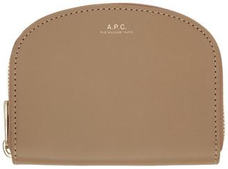 A.P.C. Beige Compact Demi-Lune Wallet
