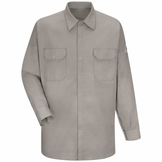 Bulwark Fr Bulwark Men's Work Shirt with Grippers and Lined Sleeves Silver Grey 2X-Large