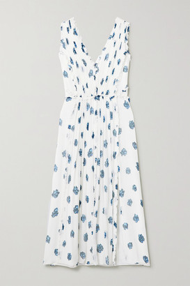 Jason Wu Ruffled Floral-print Silk-crepon Midi Dress - Ecru